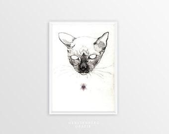 Cat Print A4 CAT HEAD   Cat Drawing - Cat Illustration - Pet Gift   Wall Art - Cat Art - Art Print - Cat Gift - Pet Portrait - Home Decor
