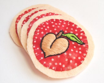Peach Patch on Pink Polka Dots