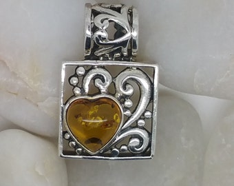 Sterling Silver 925 Boxed Pendant with Amber Heart