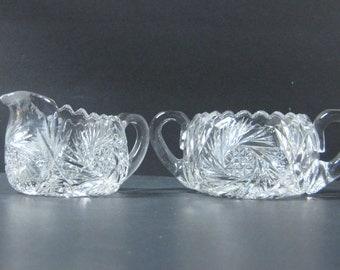 Vintage Crystal Creamer & Sugar, Cut Crystal, Pinwheel Pattern American Brilliant Crystal