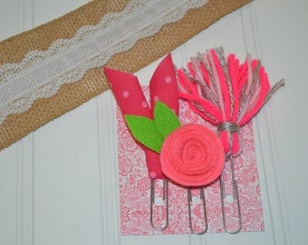 Tassel Clips, Set of 3... PINK & GRAY set... Sweet Bookmark Clips for Bible, Planner, Journal, or a Good Book... Felt Flowers