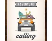 Adventure is calling print. Adventure print Jeep print Jeep poster Adventure poster inspirational print motivational quote print LatteDesign