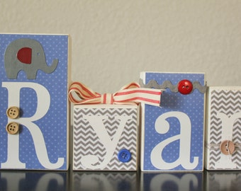 Blue Gray Elephant Baby Shower- Grey Red Blue Elephant Nursery Blocks- Baby Name Shower Blocks- Red Gray Elephant Nursery- Grey Blue Nursery