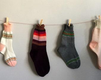 Hand knitted wool socks.