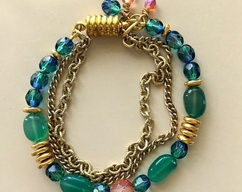 Multi strand  Blue and Green Gemstone and Crystal Bracelet with Vintage Gold Filled Chain