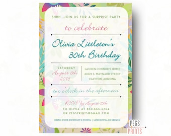 Tropical Surprise Birthday Party Invitation - Surprise 30th Birthday Invitation (Printable) Surprise Birthday Invites - Tropical Birthday