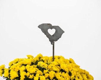SALE South Carolina State Heart Garden Art Stake