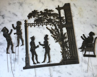 1800s antique French Ombres Chinoises, antique French shadow puppets