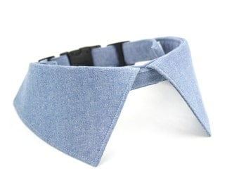 Blue Chambray Dog Wedding Shirt Collar Adjustable Preppy Pointed Collar Cat Shirt Collar