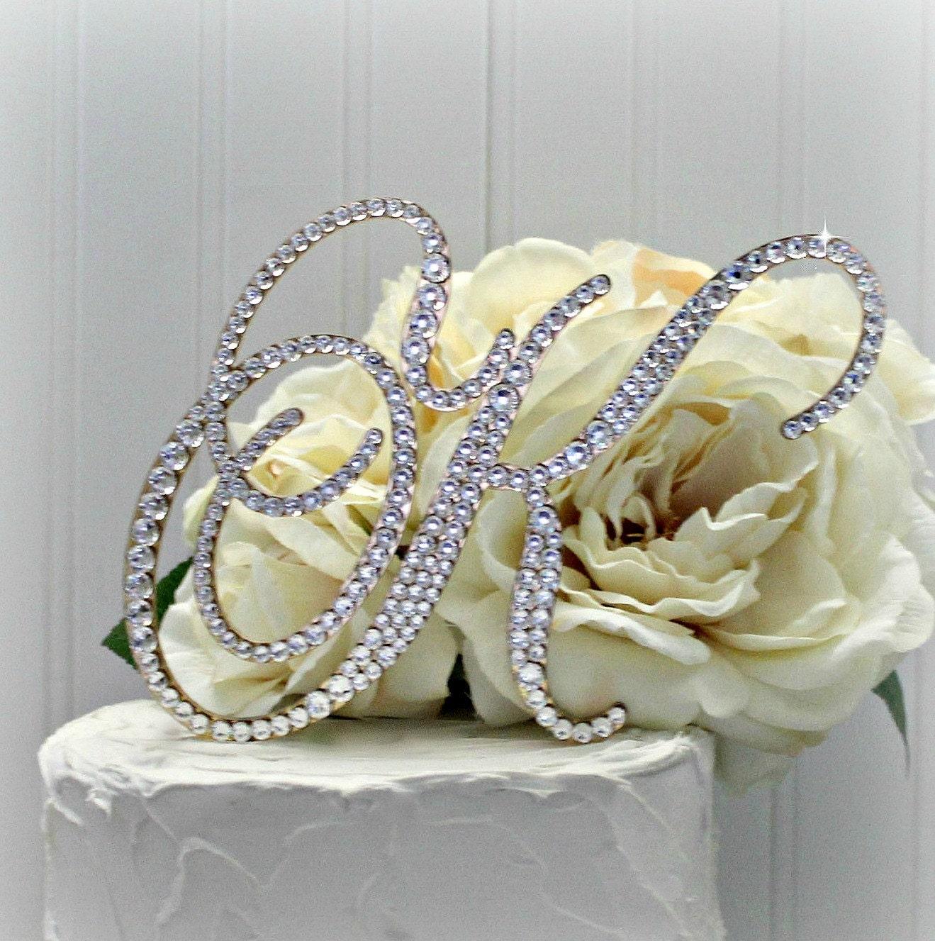 Monogram Wedding Cake Topper Initial Letter Cake Topper in