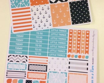 Orange Aqua Black Nautical Planner Stickers | Fits Erin Condren Life Planner | Vertical Layout | Anchor Stickers | For Happy Planner | ML022