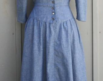 Vintage Denim Prairie Dress - Blue Chambray Dress - Lace Collar Dress - Button Down Dress - Peasant Dress - Blue Jean Dress - Folk Dress