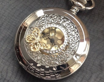 Silver Butterfly Watch Necklace, Butterfly Pocket Watch Necklace, Steampunk Pocket Watch Necklace