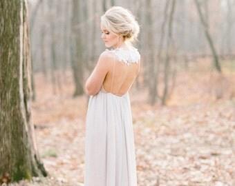 Low Back Chiffon Wedding Dress, Silk Chiffon and Lace Wedding Gown, Gray Boho Lace Wedding Dress, Empire Waist Wedding - Everlasting Gown