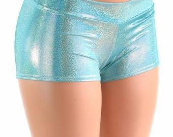 Lowrise Seafoam Holographic Metallic Spandex Booty Shorts  Rave Festival Shorts 152387