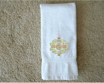 Southwestern Towel, bath towel, kitchen towel,southwestern decor, bathroom decor, linens, bathroom towel,embroidered towel,custom towel