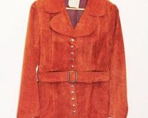 Women's Jacket Coat // Vintage 1970s 70s // Penny Lane // Suede Jacket // Bohemian // Size Small