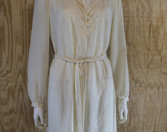 Vintage 1970's EDITH FLAGG Sheer Cream Chiffon Embroidered Eyelet Belted Shift Tent Dress with Belt Tie M L