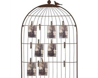 SALE Vintage Bird Cage Photo and Memo Holder
