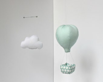 Baby Mobile - Hot air balloon Mobile in the clouds - In its basket, hope