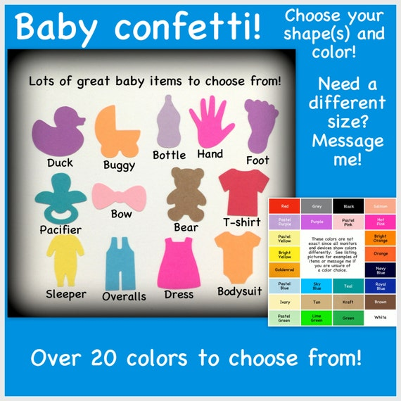 baby shower confetti variety of colors duck buggy bottle hand foot
