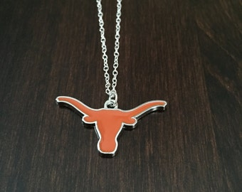 Texas Longhorns, Texas Longhorns necklace, Texas Longhorns jewelry, University of Texas, University of Texas Longhorns, UT Longhorns