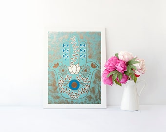 Hippie Bohemian evil eye hamsa hand art print, poster for baby nursery, dorm room, apartment, or home decor