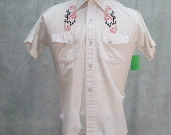 1950s Cowboy Shirt Catus Stitching Snap Close Short Sleeve White Vintage Western Shirt