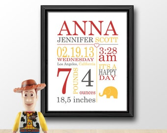 Custom baby stats etsy baby birth announcement birth wall art custom baby stats wall art baby nursery negle Image collections
