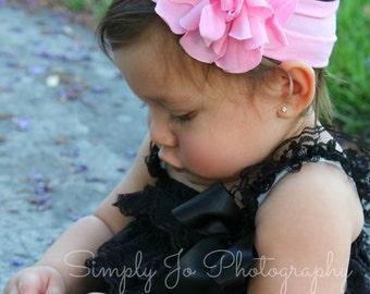 Baby headbands, pink headbands, newborn head wrap, pink flower, infant head wrap, 1st birthday, pink headbands, baby girl headband