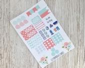 Coral & Mint Pocket Weekly Kit; Vinyl Matt; Filofax; Mini Kit; Flower Stickers, Pocket TN Kit; WO1P; Meal Planning Sticker