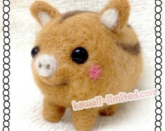 Kawaii Cute Little Boar Pig doll Mascot & Free Tool - English DIY Wool Needle Felting Felt Craft Kit
