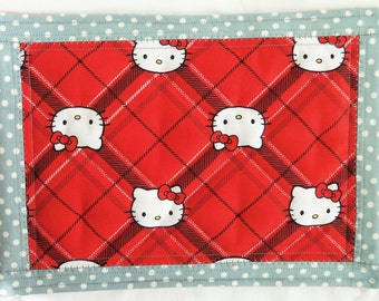 Mug Rug , MY LITTLE KITTY Quilted Snack Mat , Coaster , Candle Mat , Table Topper , Place Mat , Cats , Red