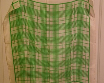 Vintage 1970s Anne Klein Scarf Silk Lime Green Square