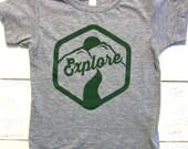 Little explorer toddler baseball shirt. Baby & toddler t-shirt. American apparel. explore toddler t-shirt.