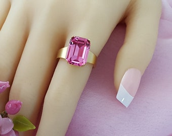 Square Ring, Tanzanite Ring, Smoky Topaz Ring, Iridescent Ring, Pink Crystal Ring, Swarovski Crystal, Matte Gold Ring, Pick Your Color R3007