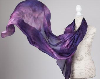 Aubergine silk scarf /purple and pinksilk  scarf/ purple scarf/ Hand dyed / 100% habotai silk