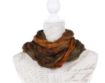 Earth boho scarf / girlfriend gift scarf / Brown silk scarf gift for her  /  ruffled brown silk scarf / silk scarf gift for mom