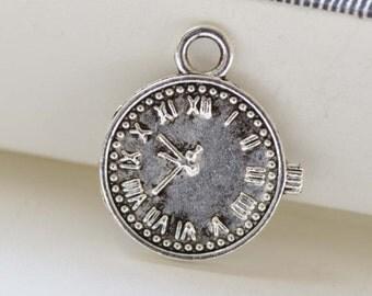 Antique Silver Mechanical Clock Charms Watch Pendants  16x19mm Set of 20 A8421