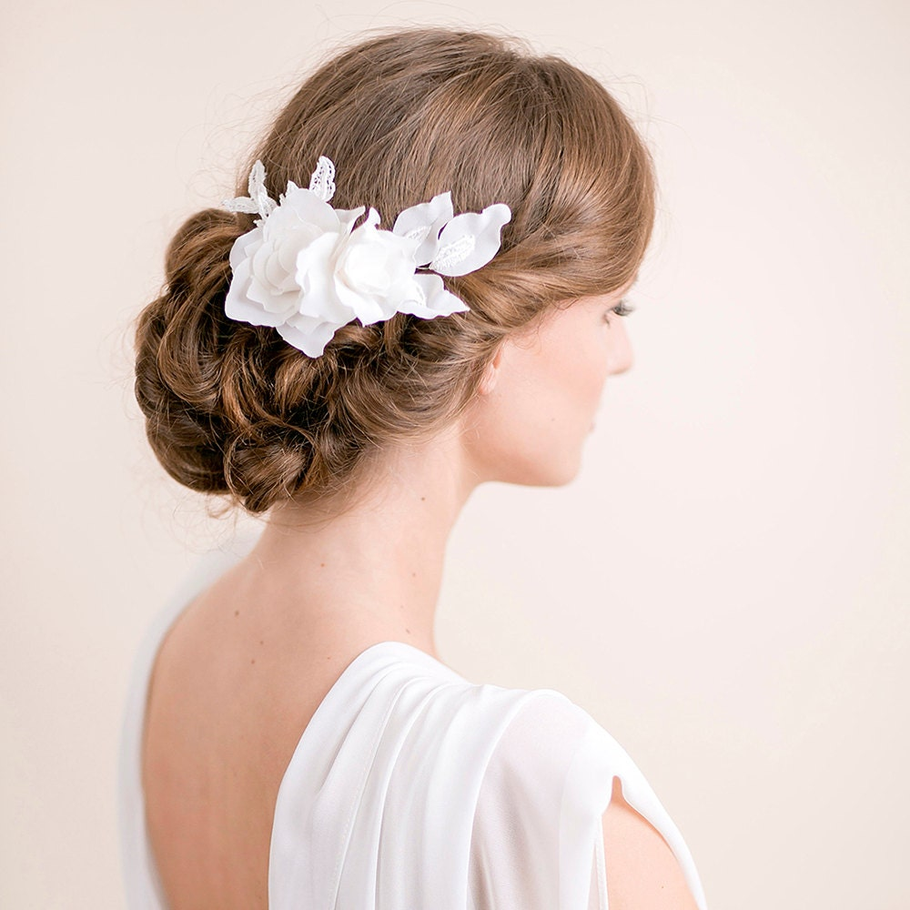 Flower Hair Pieces For Wedding: Lily Magnolia Flower Hair Piece Bridal Hairpiece Flower Lace