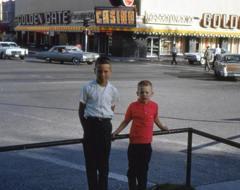 Vintage Photo Slide..In Front of the Golden Gate Casino 1950's, 35mm Color Slide, Vernacular Photography, American Social History Photo