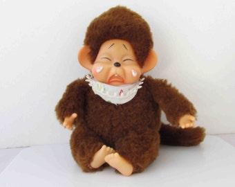 Crying Monchhichi Style Stuffed Doll Monkey Vintage Mod Expression Doll