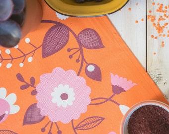 Orange floral tea towel bright and fun mid century retro print