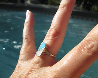 Turquoise, Mother of Pearl and Sterling Inlay Ring Size 5.5