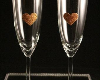 Gold Glitter Celebratory Champagne Flutes , Graduation Glasses, Engagement Glasses, Wedding Glasses, Anniversary Glasses, Celebration Glass