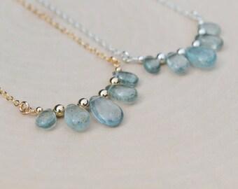 Moss Aquamarine Bib Necklace, Aquamarine Necklace, March Birthstone Necklace, March Birthstone Jewelry