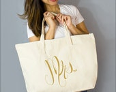 "Gold Mrs. Large Zip Tote: 100% Natural Cotton Canvas 22""W x 15""L x 5""D Interior Zippered Pocket - By Alicia Cox/ Ellafly"