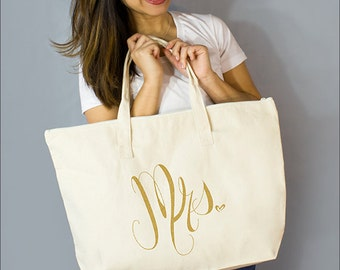 """Gold Mrs. Large Zip Tote: 100% Natural Cotton Canvas 22""""W x 15""""L x 5""""D Interior Zippered Pocket - By Alicia Cox/ Ellafly"""