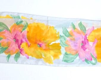 Vintage Vera Neumann Floral Scarf - Rectangular Sheer Scarf with Yellow, Orange Floral Pattern