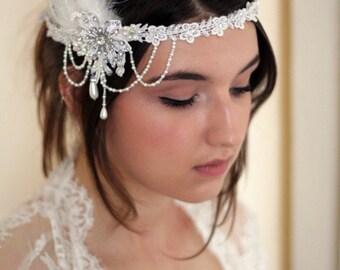 GATSBY - Bridal Vintage 20s Lace Hair Piece, Feathers, Pearls, Swarovski Crystal, Gatsby Flapper Head Dress